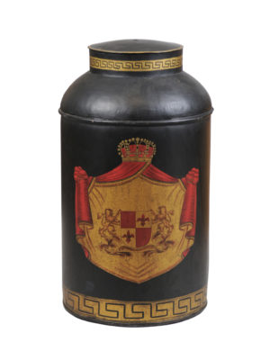 Tole Tea Canister with Armorial Crest