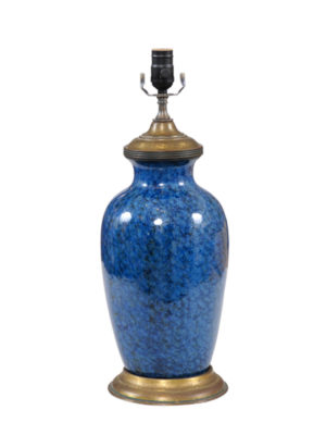 Blue Porcelain Lamps with Brass Mounts