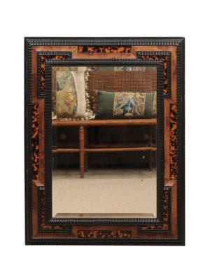 Italian Black Painted & Faux Tortoiseshell Mirror
