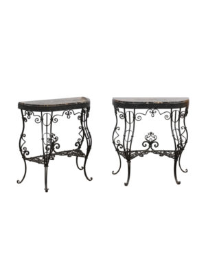 Pair of Iron Consoles with Black Marble Tops