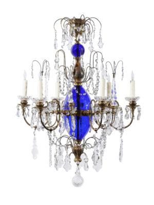 Swedish Cobalt Blue & Crystal Chandelier