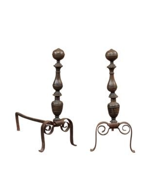 17th Century Italian Brass & Iron Andirons