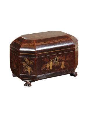 19th Century Chinoiserie Decorated Tea Caddy