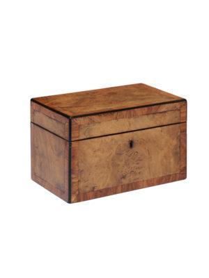 19th Century English Burl Walnut Tea Caddy
