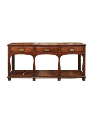 19th Century English Oak Dresser Base with Lower Plinth