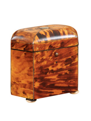 19th Century English Tortoiseshell Tea Caddy