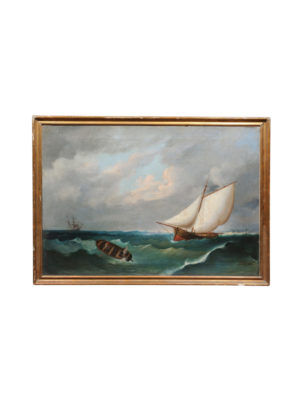 19th Century Oil on Canvas Seascape Painting