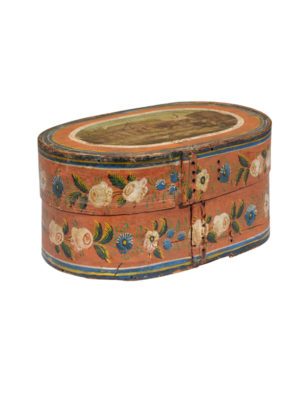 19th Century Swedish Painted Bentwood Marriage Box