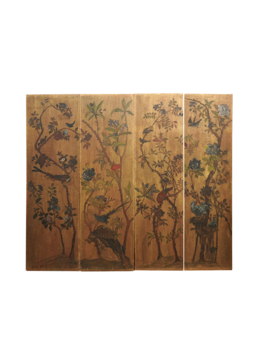 4-Panel Oil on Canvas Painted Screen with Birds