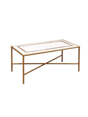 Bamboo Style Brass Coffee Table with Marble Top