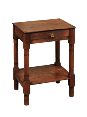 English Pine Drink Table with Lower Shelf