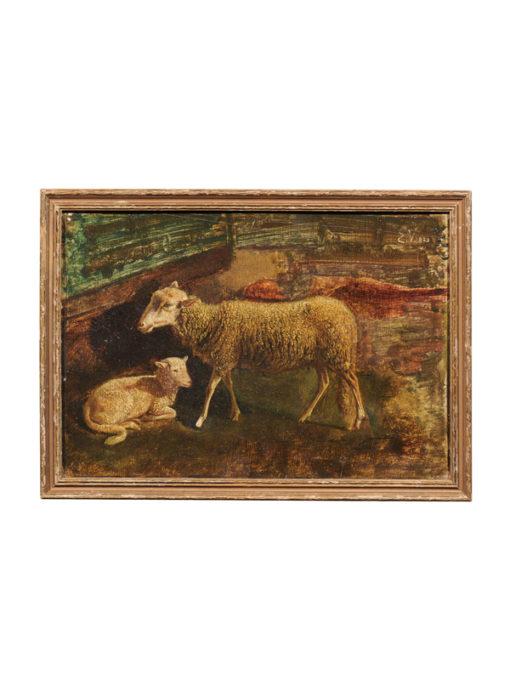 Framed 19th Century Italian Oil on Panel Sheep Painting
