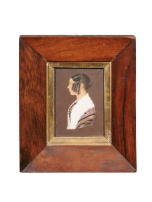 Framed 19th Century Miniature Portrait of Lady