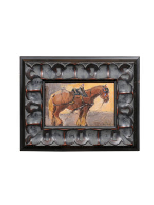 Framed Italian Oil on Board Horse Painting