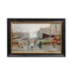 Framed Oil on Board Painting of Naples Market Scene
