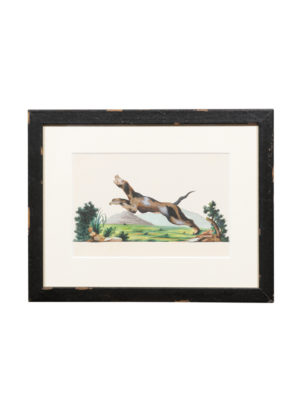 Framed Watercolor Painting of Leaping Dog