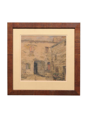 Framed Watercolor of Mediterranean Town