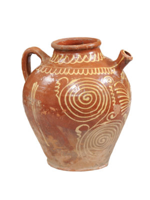 French Pottery Jug with Slip Decoration