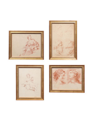 Gilt Framed Red Chalk Lithographs from Anatomical Study Books