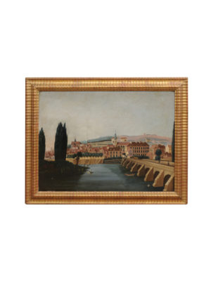 Giltwood Framed Oil on Board Landscape Painting