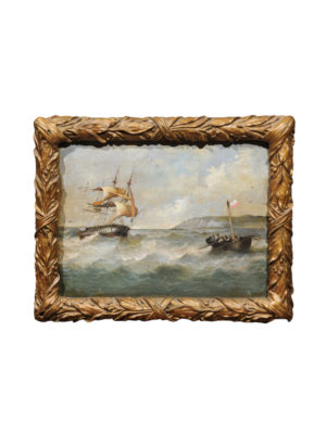 Giltwood Framed Oil on Board Seascape Painting