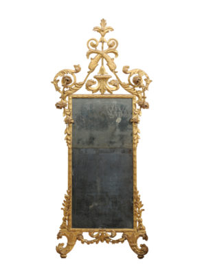 Neoclassical Period Giltwood Mirror with Dolphin Crest