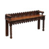 Oak Hall Bench with Carved Back Support & Arms