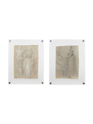 Pair 18th Century French Pencil Drawings