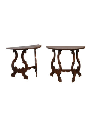 Pair Baroque Style Walnut Consoles