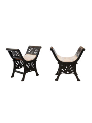 Pair Black Painted Window Benches Italy 19th Century