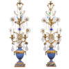 Pair Crystal Girandoles with Blue Painted Urn Bases