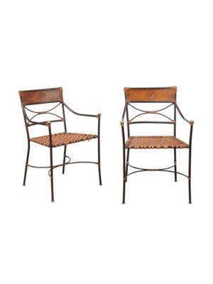 Pair Iron & Leather Italian Armchairs