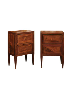 Pair Neoclassical Style Inlaid Commodini