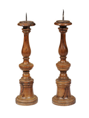 Pair Olivewood Candlesticks