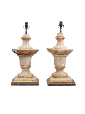 Pair Painted Urn Shaped Lamps