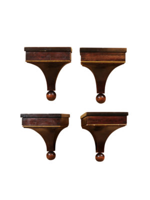 Set Wooden Wall Brackets with Gilt Accents