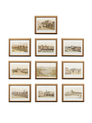 Set of 10 Gilt Framed Lithographs of Paris