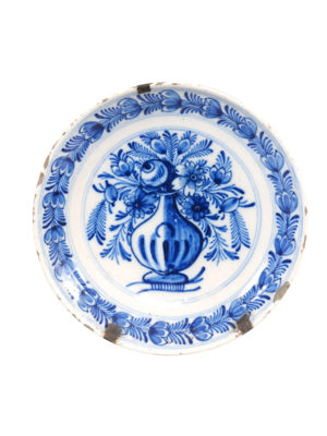 19th Century Delft Plate with Flower Urn