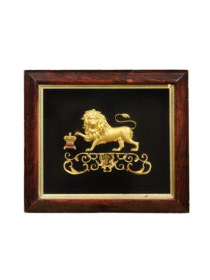 19th Century English Gilt Bronze Lion on Velvet