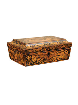 19th Century English Penwork Box with Female Figures