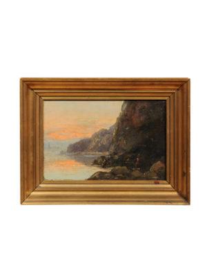 19th Century Framed Oil on Canvas Seascape