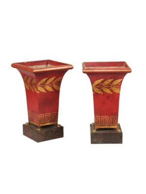 20th C Red Painted Tole Cachepots with Gilt Accents