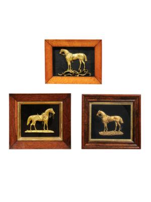 Framed Gilt Bronze Horses on Velvet