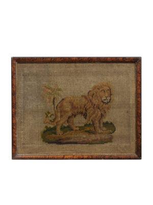 Framed Needlework Lion