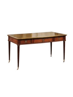 Louis XVI Style Desk with Brass Mounts & Leather Top