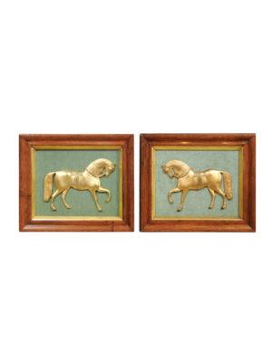 Pair Framed 19th Century Gilt Bronze Horses