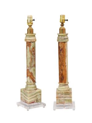 Pair Green Onyx Column Lamps