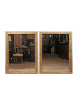 Pair Neoclassical Style Painted & Parcel Gilt Mirrors