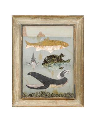 Specimen Marble Plaque of Marine Life