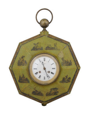 Green Painted Directoire Clock with Decoupage